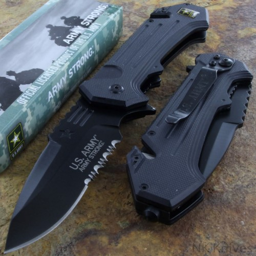 US ARMY Opening Pocket Rescue Knife Serrated Camo Steel Blade Black G 10 Handle