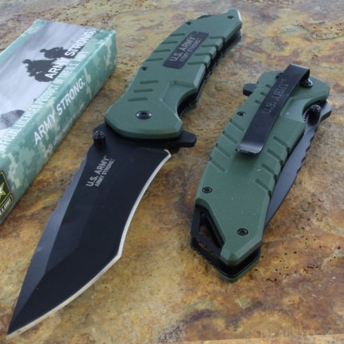 US ARMY AO Survival Rescue Pocket Knife Framelock Steel Blade Green G10 Handle
