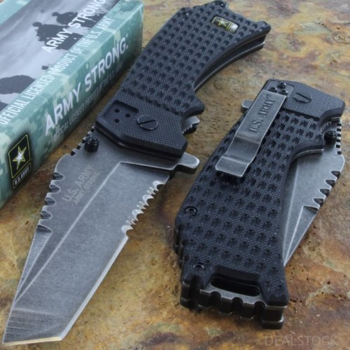 US ARMY Assisted Opening Serrated Rescue Knife Framelock Steel Blade G10 Handle