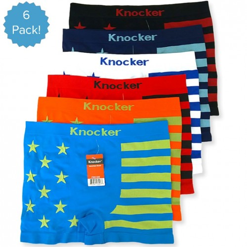 Knocker 6 Mens Seamless Boxers Briefs Athletic Workout Low One Size