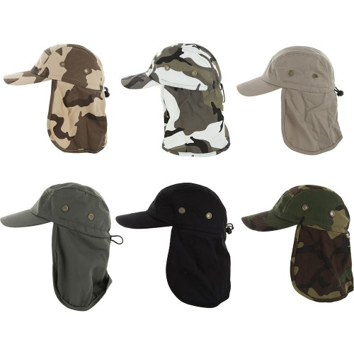 Baseball Cap with Neck Cover Flap for Fishing
