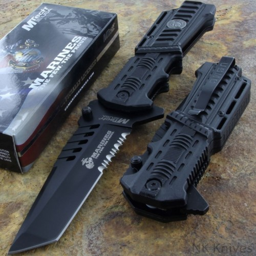 MTECH US MARINES Fold Rescue Knife Tactical Serrated TANTO Blade Glass Breaker