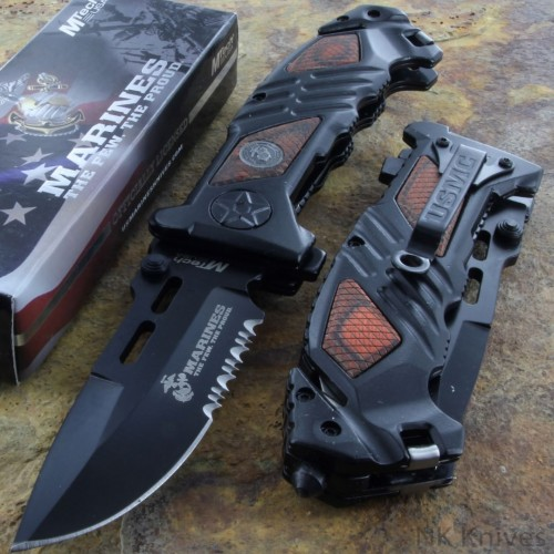 MTECH US Marines Assisted Rescue Knife Fold Serrated Steel Blade Brown Handle