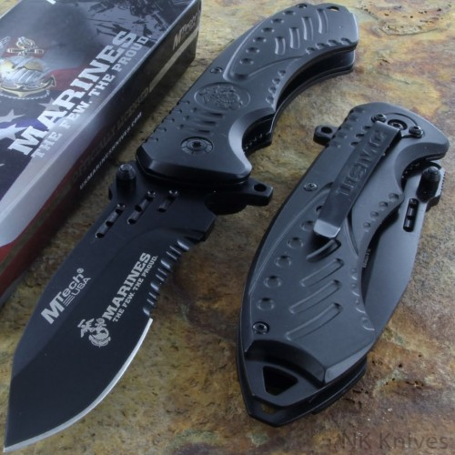 MTECH US MARINES Assisted Rescue Knife AO Serrated Steel Blade Black Handle New