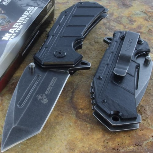MTECH US MARINES Spring Assisted Opening Rescue Knife Serrated Blade G10 Handle