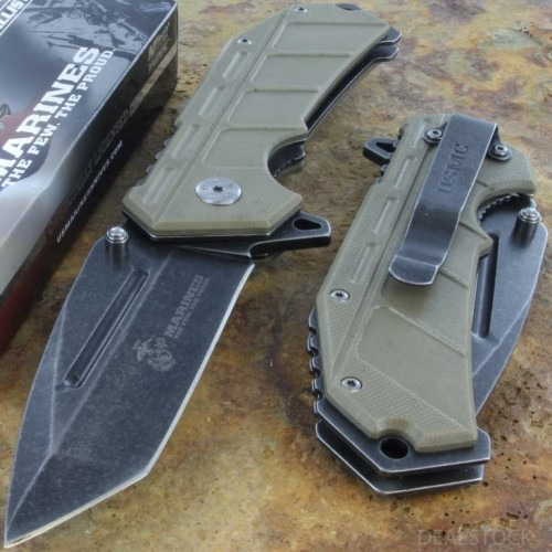 MTECH US MARINES Assisted Opening AO Rescue Knife Combat Steel Blade G10 Handle