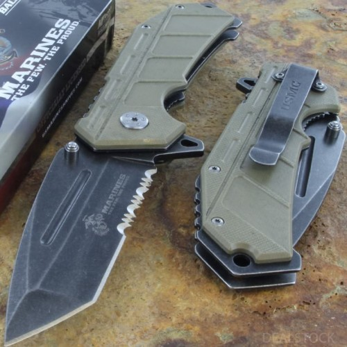 MTECH US MARINES Assisted Opening Rescue Knife Serrated Steel Blade G10 Handle