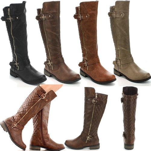 Women's Fashion Hot Knee High Flat Riding Heel Boots Shoes Faux Leather