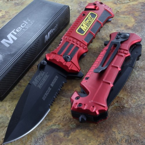 MTECH Spring Assisted Open Folding Pocket Glass Breaker Rescue RED Knife NEW