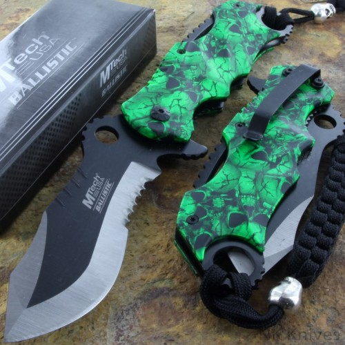 MTECH Assisted Spring Rescue Opening Knife Serrated Steel Blade Green Handle