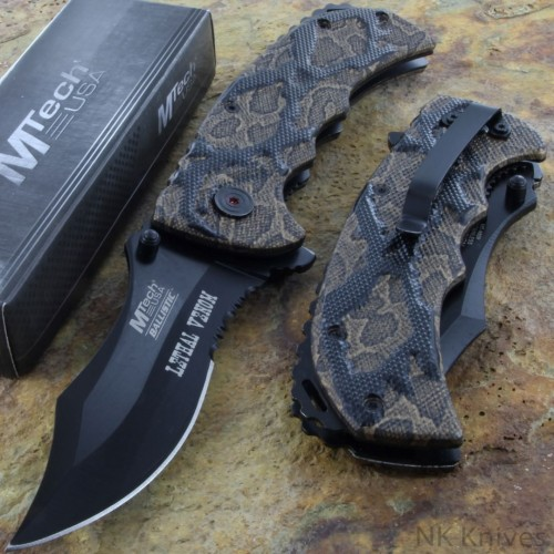 MTECH Tactical Spring Assisted RESCUE Pocket Knife Serrated Brown CAMO Handle!