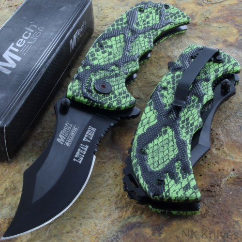 MTECH Tactical AO Spring Rescue Fold Knife Serrated Blade Green Camo Handle New