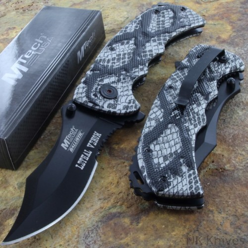 MTECH Linerlock Spring Rescue Fold Knife Serrated Blade Grey Camo Handle New