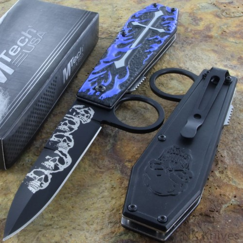 MTECH Ballistic Assisted Spring Rescue Knife Blue Flame Handle w/ Finger Ring