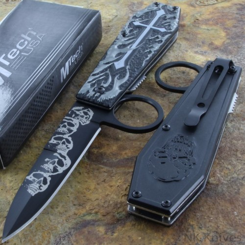 MTECH Ballistic Spring Tactical Pocket Rescue Knife Steel Blade Flame Handle New