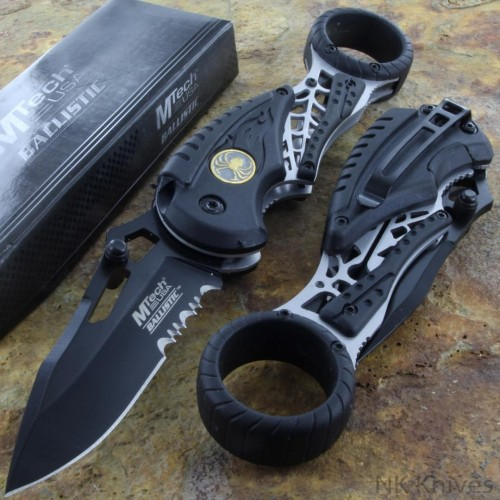 MTECH Pocket Assisted Open Rescue Knife Serrated Steel Blade GRAY Nylon Handle