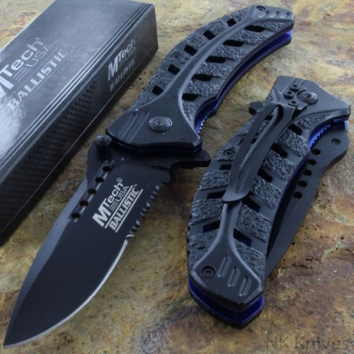 MTECH Ballistic Assisted Opening Rescue Knife Steel Blade Leaf Style Handle New