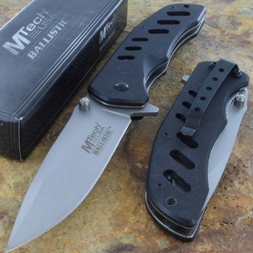 MTECH Ballistic Spring Assisted AO Opening Rescue  Knife Steel Blade G-10 Handle