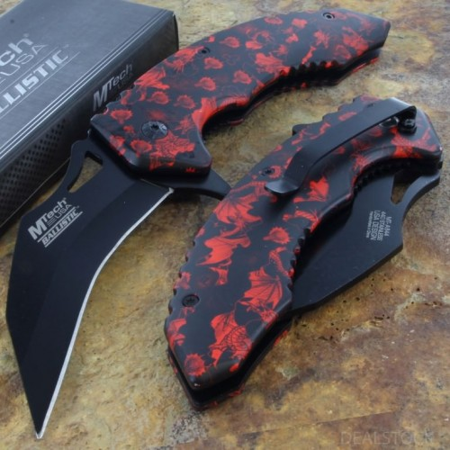 MTECH Ballistic Spring Assisted Rescue Opening Knife Steel Blade Karambit Handle