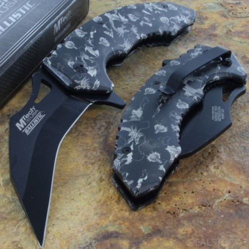 MTECH Ballistic Assisted Tactical Fold Rescue Knife Steel Blade Karambit Handle