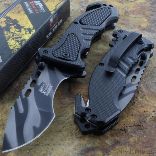 MTech Tactical Spring Rescue Assisted Opening Knife Black Handle Steel Blade NEW