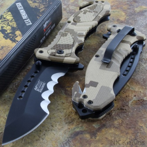 MTech Rescue Assisted Knife Tactical Linerlock DIGITAL Camo Handle Steel Blade