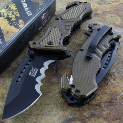 MTECH Assist Pocket Knife Rescue Survival Opening Black Stainless Steel Blade