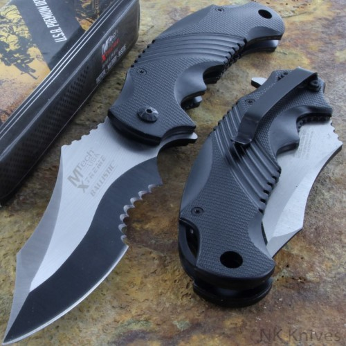 MTECH Folding Assist Knife Rescue Black & Silver Handle Stainless Steel Blade