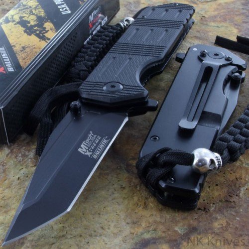 MTECH Assisted Opening Combat Knife Back AO Survival Linerlock Black Handle New