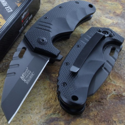MTECH XTREME Spring Assisted Tactical Black Rescue Pocket Knife Titanium Blade