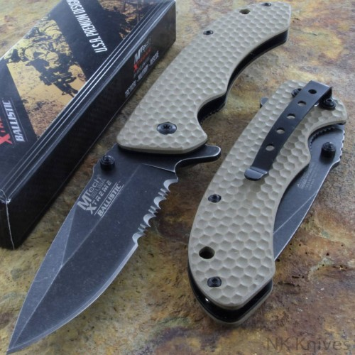 MTECH Knife Opening Assisted Rescue Folding Spring Steel Blade Tan G 10 Handle