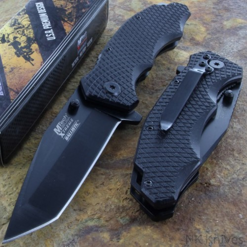 MTech Tactical Assisted Opening Pocket Knife Steel Blade Black G 10 Handle New