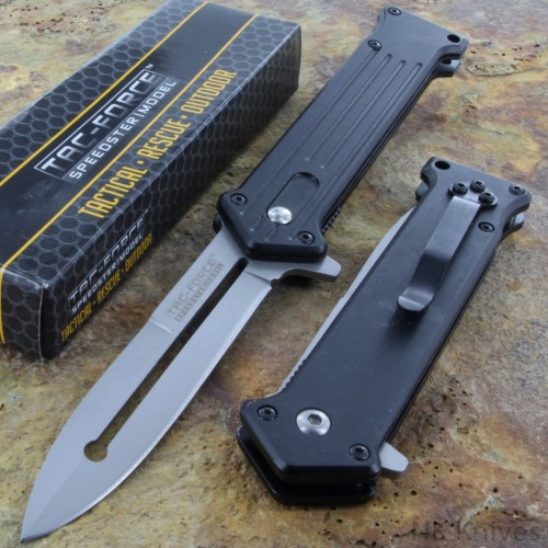 Tac Force Spring Assisted Rescue Pocket Knife Aluminum Handle Silver Blade NEW!