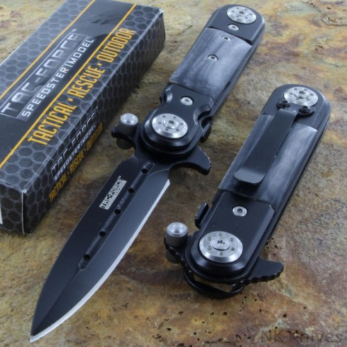 Tac Force Spring AO Linerlock Pocket Rescue Knife Stiletto Black stainless Blade