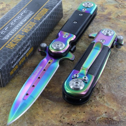 Tac Force Spring AO Linerlock Pocket Rescue Knife Stiletto Style RAINBOW Blade!!