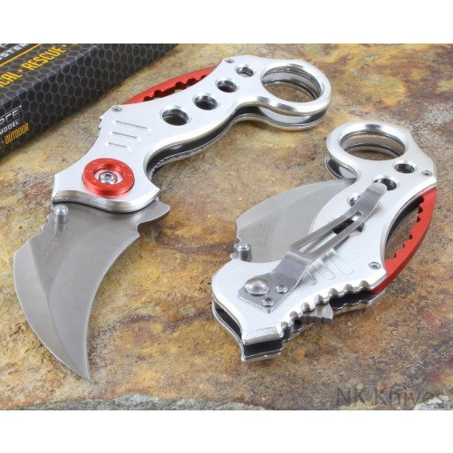 HOT Tac-Force Karambit Style Silver Steel Metal Tactical Folding Rescue Knife