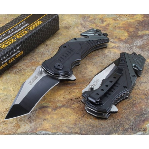 Tac Force Black Assisted Opening Folding Glass Breaker Rescue Knife New Rescue
