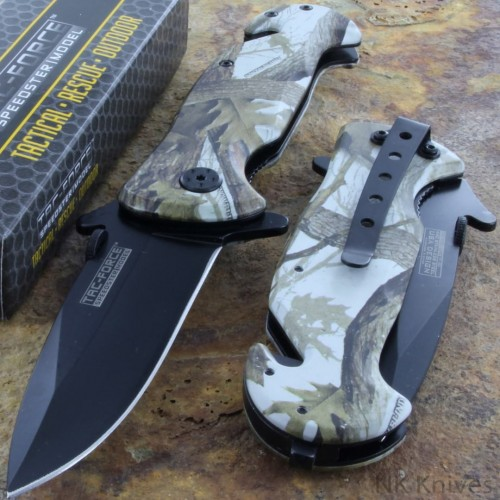 Tac-Force Camouflage Tactical Rescue Pocket Knife AO Camo Black Glass Breaker!!