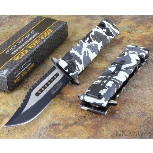 Tac-Force Spring Assisted Sawback Bowie Snow Camo Rescue Glass Breaker Knife New