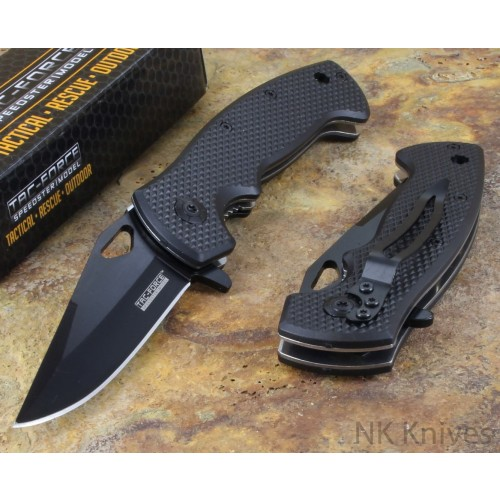Tac-Force Black Rescue Assisted Opening Folding Camping Hunting Pocket Knife New