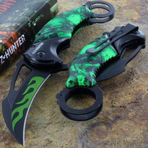 Zombie Hunter Opening Knives Green Handle Karambit Assisted Rescue Steel Blade