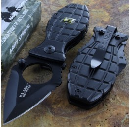 US ARMY Assisted Rescue Spring Pocket Knife Steel Blade With Ring Black Handle