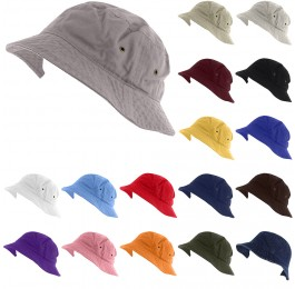 Plain 100% Washed Cotton Boonie Fishing Hiking Hat