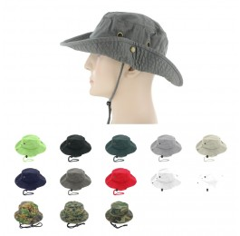 100% Cotton Boonie Fishing Bucket Hat with String
